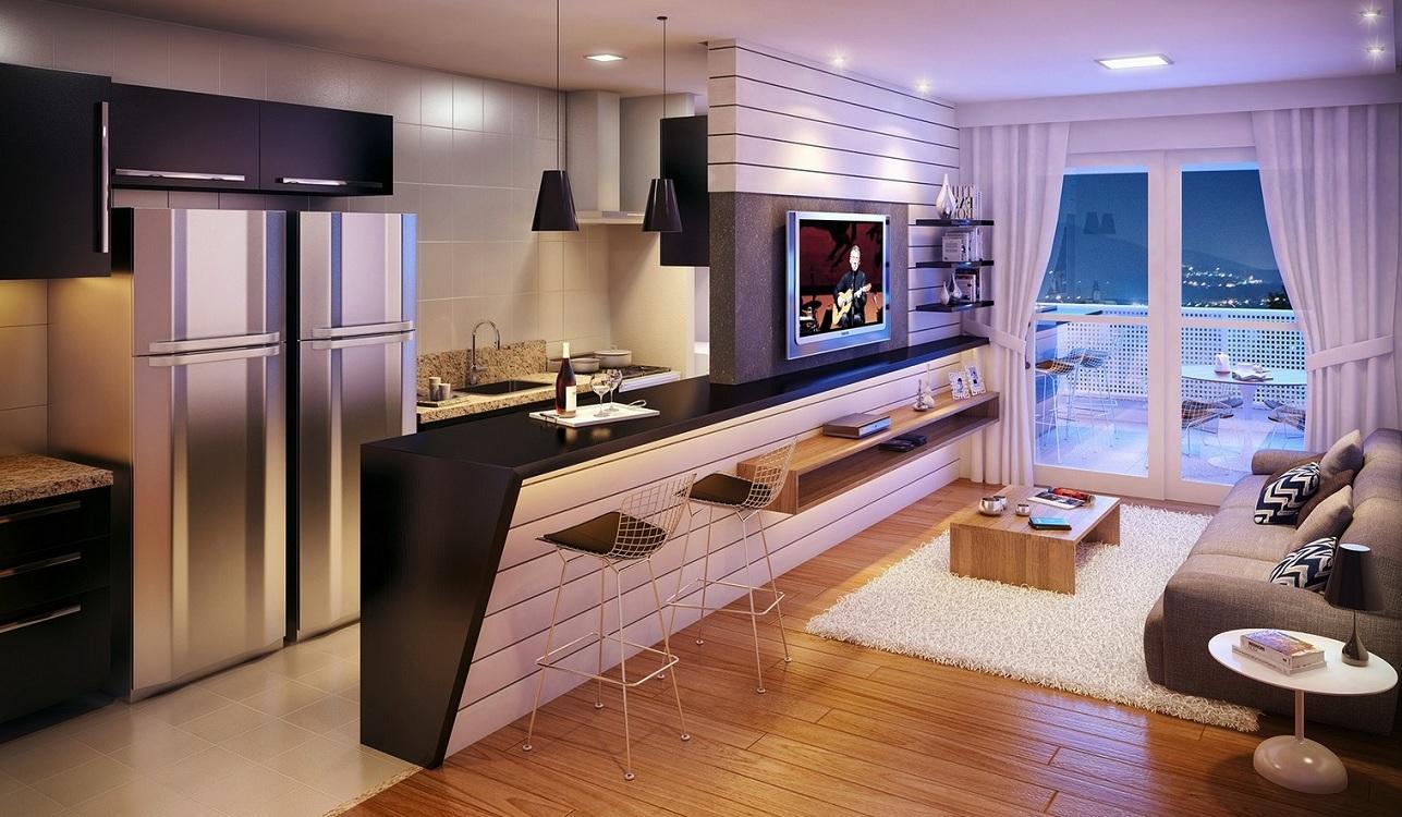 Зонирование кухни-гостиной 24 кв. м