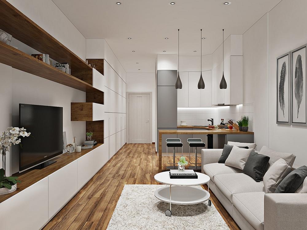 Зонирование кухни-гостиной 27 кв. м