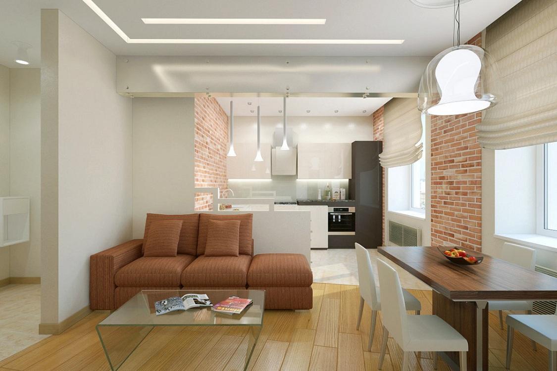 Зонирование кухни-гостиной 30 м низкой перегородкой