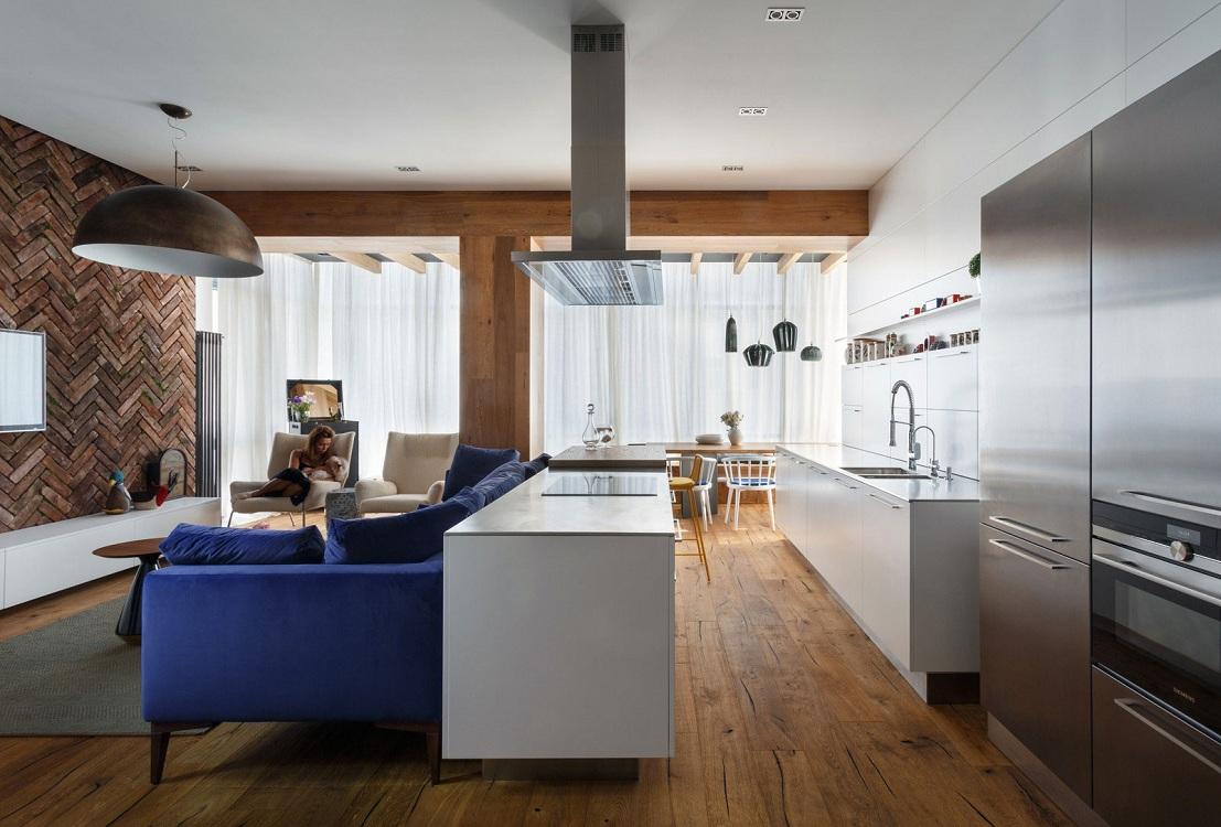 Зонирование кухни-гостиной 35 кв. м