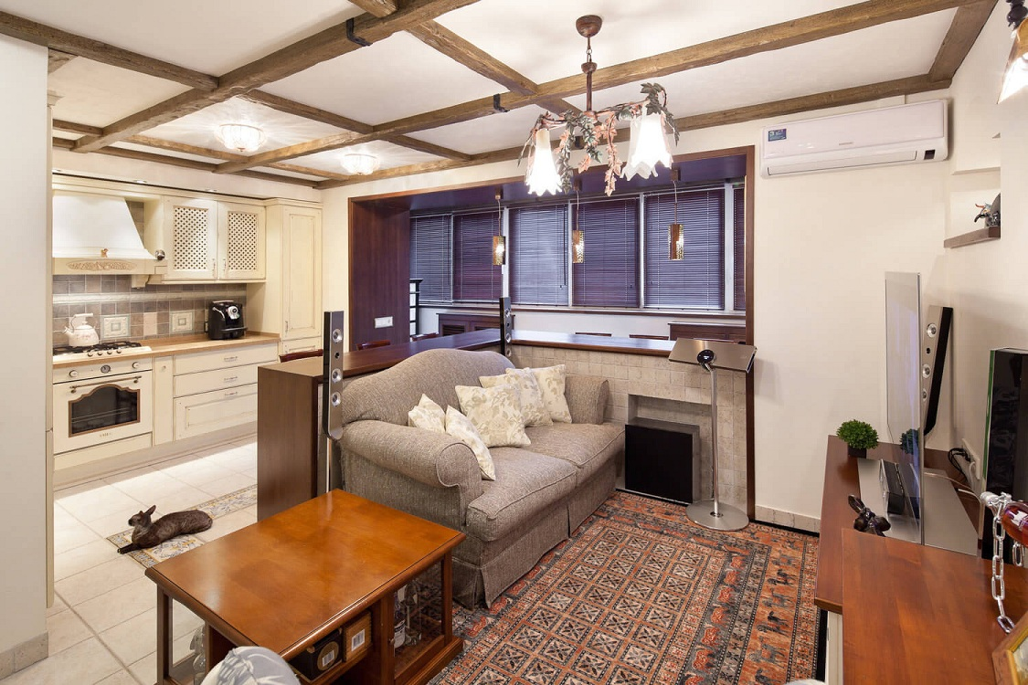 Зрительное разделение кухни-гостиной 23 метра