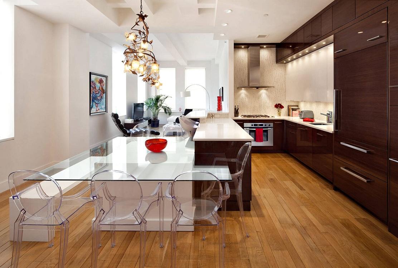 Мебель и освещение на кухне в стиле контемпорари