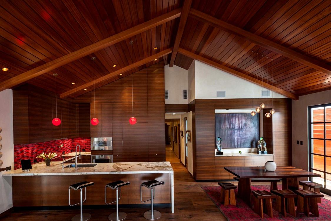 Мебель и освещение на кухне в японском стиле