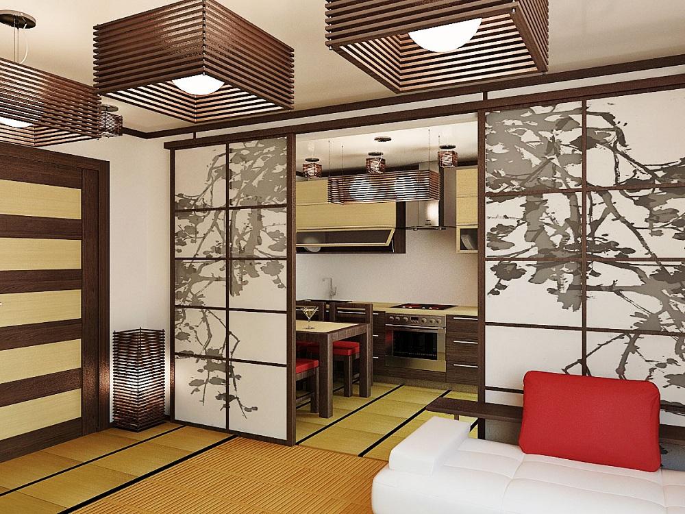Оформление стен на кухне в японском стиле
