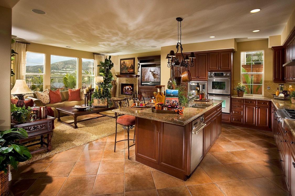 Элементы декора на кухне-столовой в частном доме