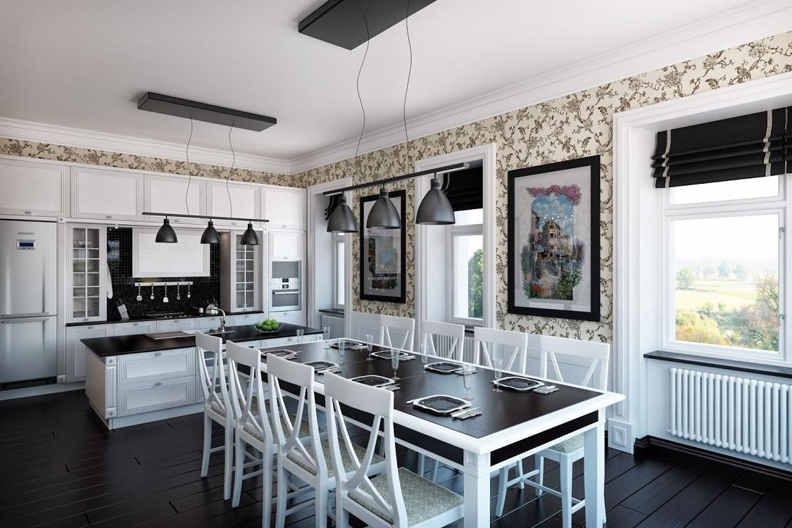 Кухня-столовая с большим количеством окон в частном доме