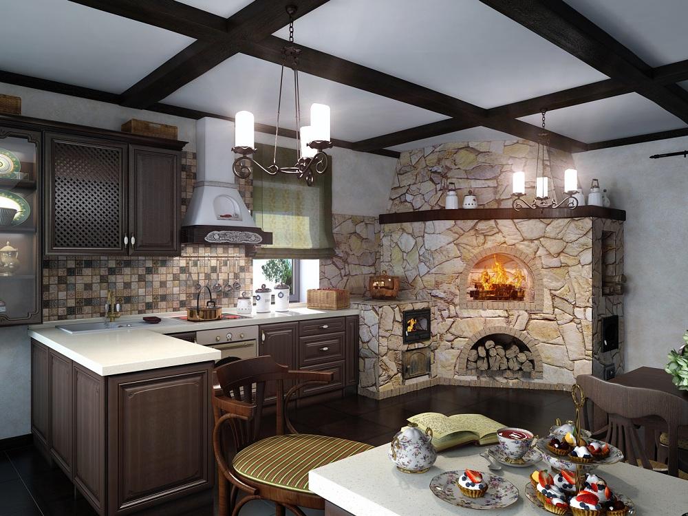 Кухня-столовая с печкой в частном доме