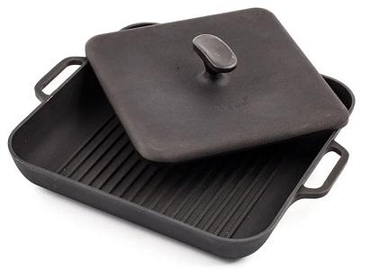 Чугунная сковорода-гриль для индукционной плиты