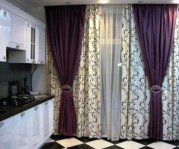 Двойные шторы на кухню