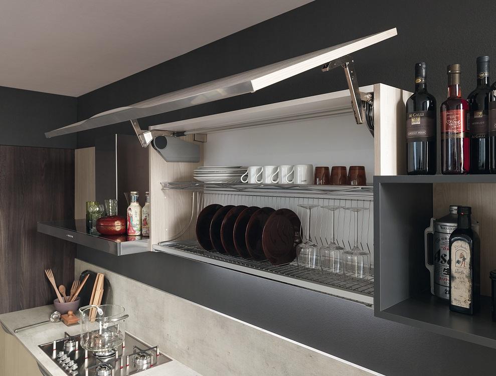 Форма навесных шкафов на кухне