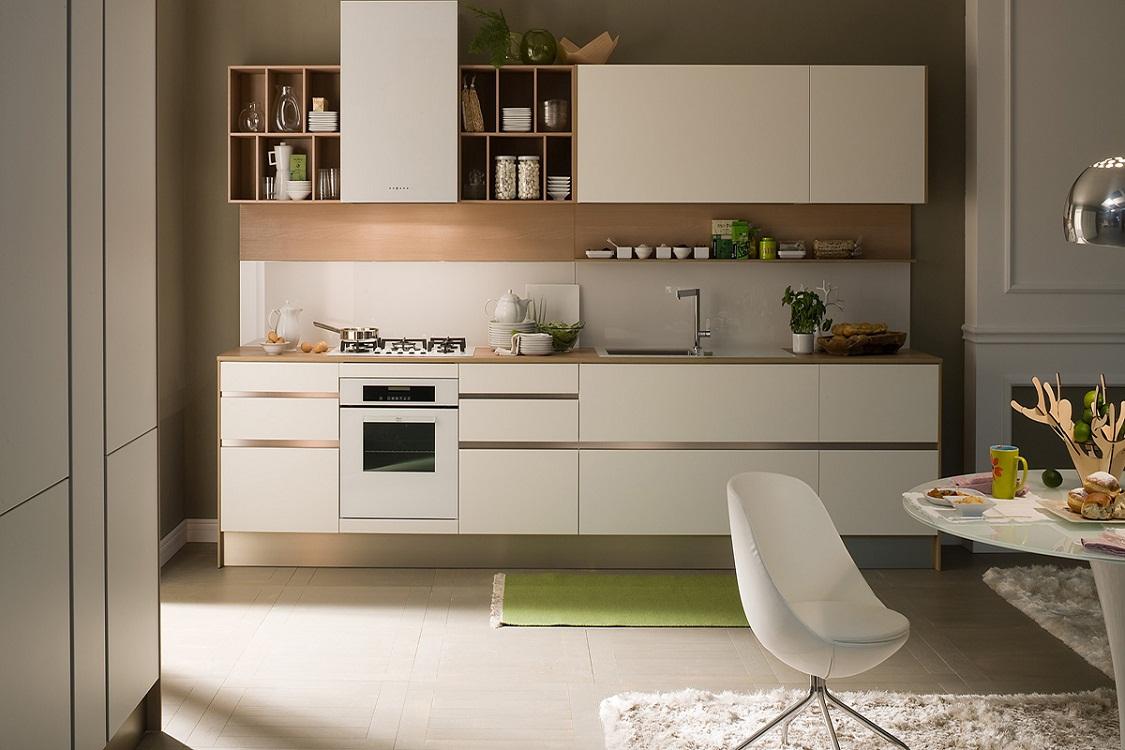 Комбинированные навесные ящики на кухне