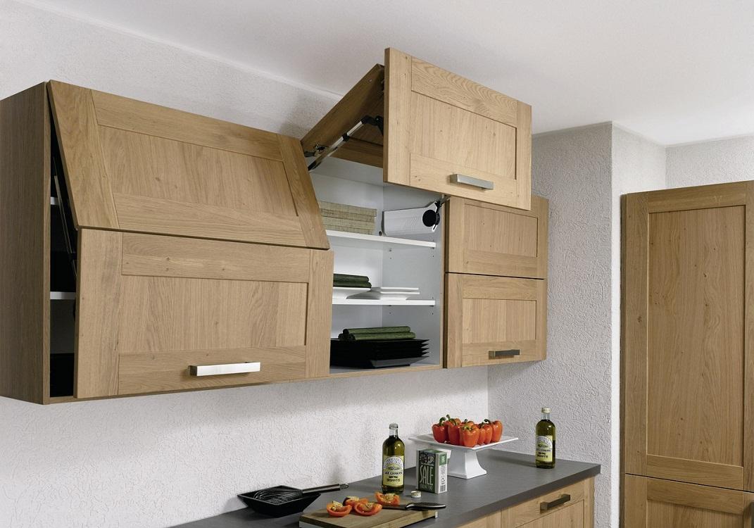 Навесные шкафы из дерева для кухни