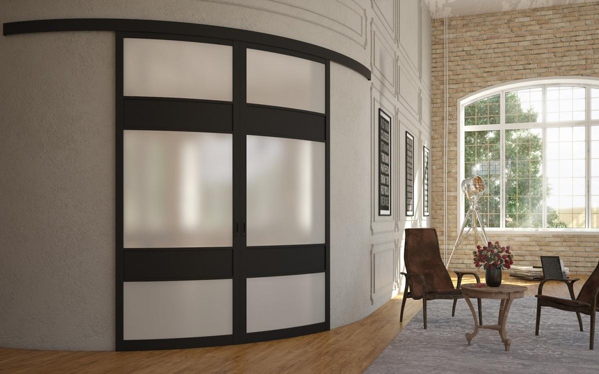 Радиусная раздвижная дверь для кухни