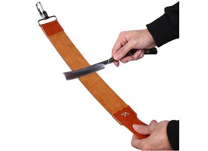 Заточка ножа кожаным ремнем