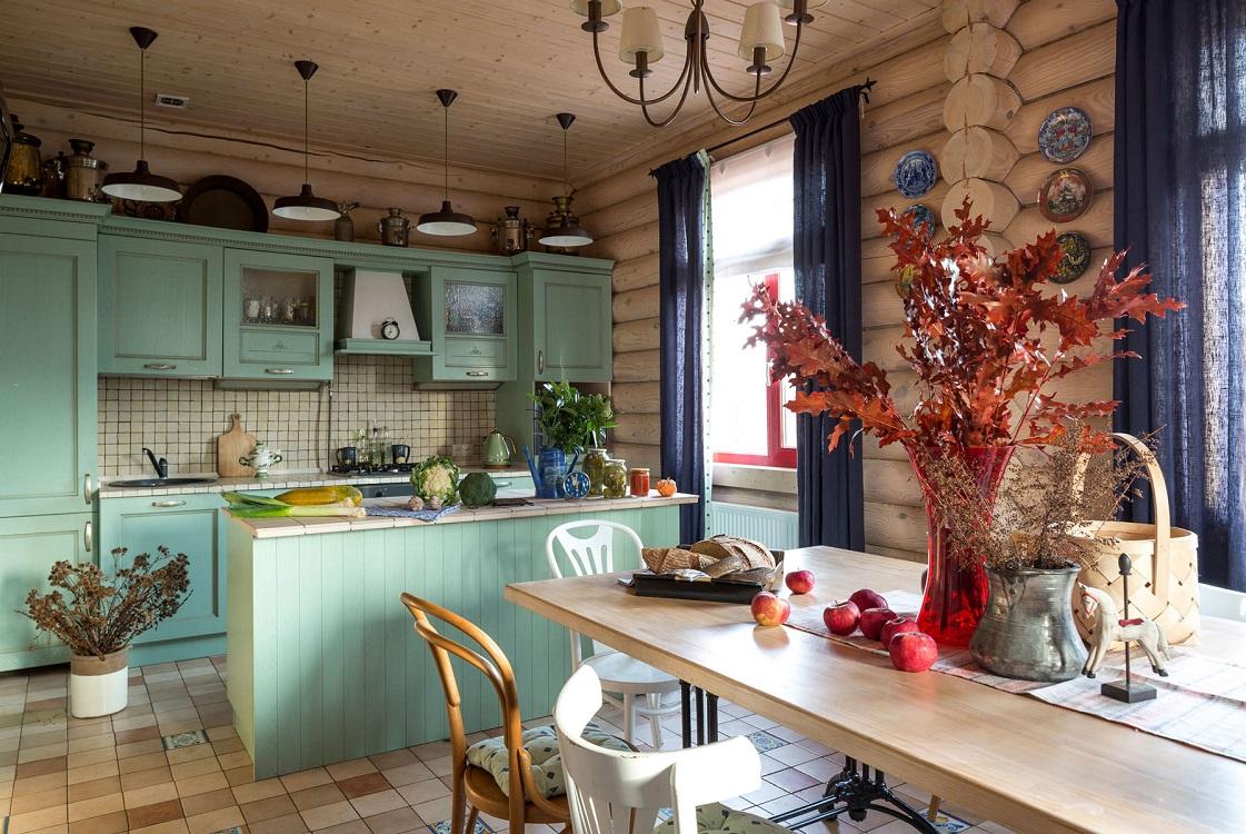 Цветовая палитра кухни на даче